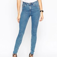 ASOS Ridley Skinny Jean In Birch Flat Midwash Blue