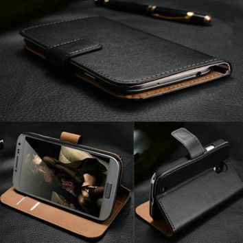 Luxury Leather Case Wallet Cover For All Samsung Galaxy Models (+ Free Screen Protector & Free Cleaning Cloth)