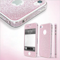 Shinning Sparkling Sticker for iPhone 4/4s in Pink