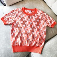 Fendi High quality new fashion more letter women knit top t-shirt Orange Red