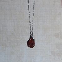 Rough Garnet Necklace, Raw Garnet Pendant, Oxidized Sterling Silver Chain, Handmade Rustic Jewelry