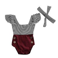 Summer born Kids Baby Infant Girl Striped Cotton Romper Jumpsuit Clothes Outfit