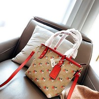 COACH New fashion pattern strawberry print leather handbag shoulder bag crossbody bag