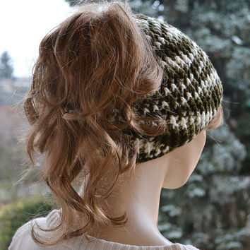 Messy Bun Beanie Crocheted Ponytail Hole Hat lovely warm autumn accessories women clothing crochet Hat