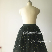 Gold Polka Dots Black Tulle Skirt Adult Women Short Skirt Bridesmaid Skirt TUTU Tulle Skirt/Wedding Dress Underskirt/Bachelorette TuTu