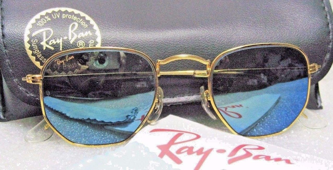 Image of RAY-BAN *NOS VINTAGE B&L Classic Metals W1864 Hexagon BlueMirror *NEW SUNGLASSES