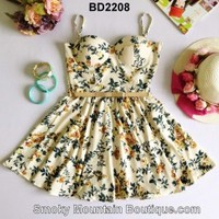 Ivory Floral Multi Color Bustier Dress with Adjustable Straps Size S/M - BD2208 - Smoky Mountain Boutique