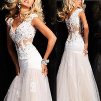 2013 New High-End Charisma Sexy Mermaid Bridesmaid Prom Dress Ball Gown Cap Sleeve Evening Dress Size Custom