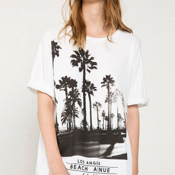 White Coconut Tree Printed T-Shirt