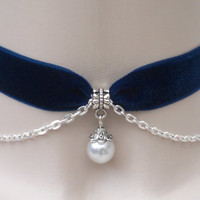 Vintage Style Faux White PEARL Bead With SP Chain Navy BLUE Velvet Ribbon Choker Necklace -wl... or choose another colour velvet :)