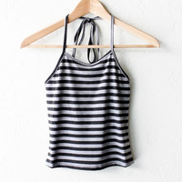 Striped Halter Crop Top