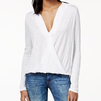 GUESS Long-Sleeve Faux-Wrap Top