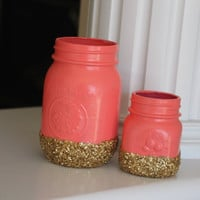 Coral and Gold Jars, Coral and Gold Vases, Coral Centerpiece, Gold Accents, Spring Decor, Coral Vase, Gold Vase, Gold centerpiece, Gift