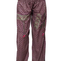Women's Harems Pants Dark Purple Floral Printed Hippie Yoga Pants