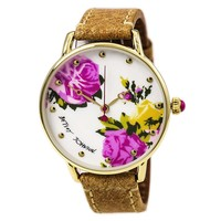Betsey Johnson BJ00207-05 Women's Floral White MOP Dial Brown Leather Strap Watch
