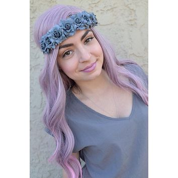Grey Rose Headband #C1060
