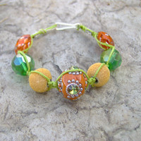 Gypsy Lime Green Hemp Bracelet or Anklet  Hemp by KnottyandNiceHemp