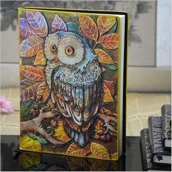 2017 European Vintage Thick notebook Diary Book Handmade leather carving owl Stationery Office Material School Supplies 01663