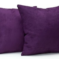 Newpoint Microsuede 16-Inch-by-16-Inch Feather and Down Filled Pillows, Purple, 2-Pack