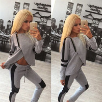 Gray Color Block Asymmetrical Sweat Shirt And Trousers