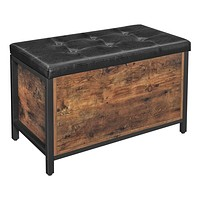 VASAGLE Storage Chests, Entryway Storage Bench, Flip Top Storage Ottoman and Trunk with Padded Seat, Bed End Stool, Hallway Living Room Bedroom, Supports 198 lb, Industrial, Rustic Brown ULSC80BX