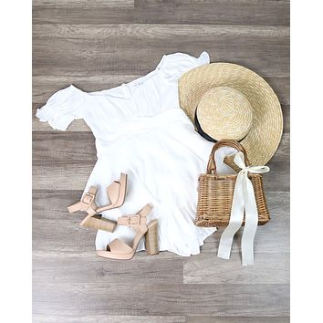 Without You Off The Shoulder Ruffled Romper in White