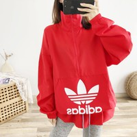 ADIDAS fashion casual lady logo printed half zipper drawstring sweater
