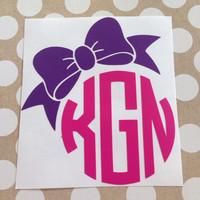 Multi-Colored Bow Monogram | Bow Monograms | Round Font Monogram | Preppy Monogram | Laptop Monogram | Car Monogram | Bottle Decal |