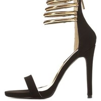 Dollhouse Gold-Plated Stacked Ankle Strap Heels - Black
