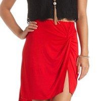 Ruched & Knotted High-Low Skirt by Charlotte Russe