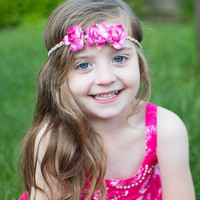 Sale! Beautiful rosette flower crown halo braided headband~ perfect photo prop m2m made to match