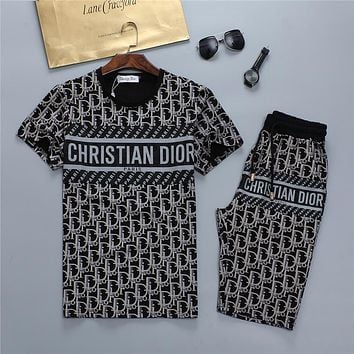 Dior letter print round neck short-sleeved T-shirt + shorts two-piece set