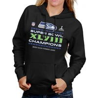 Seattle Seahawks Super Bowl XLVIII Champions Ladies Trophy Collection Locker Room Plus Size Pullover Hoodie - Black