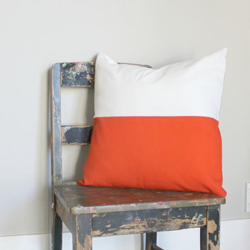 Orange & white color block pillow cover, white cushion cover, industrial decor, two tone pillow cover, lumber pillow