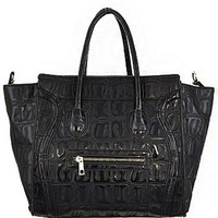 Trendy! Embossed Faux Alligator Skin Fashion Purse Black