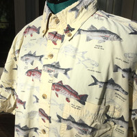 Men's Short Sleeve Shirt,Size M, Sea Fish Shirt