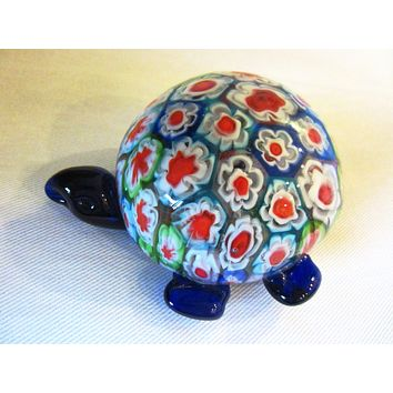 Murano Glass Millefiori Blue Turtle Paperweight