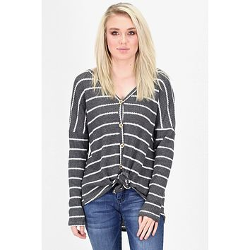 Must Have Striped Thermal Button +Tie Front L/S {Charcoal} - Size SMALL