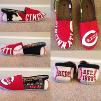 Custom Hand Painted Toms Shoes Cincinnati Reds or Any Sports Team Made To Order