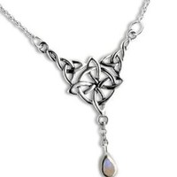 "Sterling Silver Celtic Knot Four Point North Star with Genuine Rainbow Moonstone Drop 17"" Adjustable Necklace"