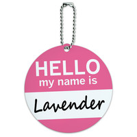 Lavender Hello My Name Is Round ID Card Luggage Tag