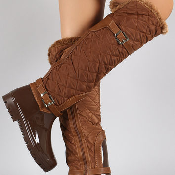 Fur Cuff Quilted Puffer Buckled Knee High Rain Boots