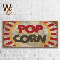 "Pop Corn Sign, 13""x27"" Large Cinema Wood Sign, Theater Room Decor, Hang in Movie Room, Great Gift For Movie Fans, Made To Order"