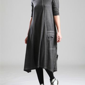 COTTON DRESS WITH UNEVE DYE - JACKETS, JUMPSUITS, DRESSES, TROUSERS, SKIRTS, JERSEY, KNITWEAR, ACCESORIES - Woman -