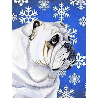Bulldog English Winter Snowflakes Holiday Flag Canvas House Size