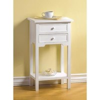 Two Drawer White Wooden Side Table
