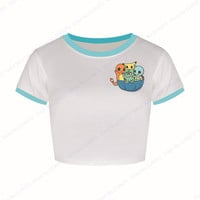 Bulbasaur Party Cropped Tee Shirts Charmander Short Sleeve Crop Tops Blastoise Blue Crew Neck Womens White Pokemon Go Blouse