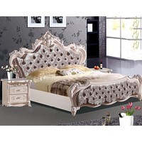Traditional King Size Bed Set With Velvet Shine Finish