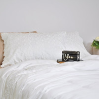Ivory Lace Duvet Cover Set in Full Queen King Size - Bridal Bedding - Ivory, Pure Cotton Sateen - Romantic, Luxury, Shabby Chic Bedding