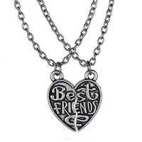 """Basket Hill Watches, Silver Tone """"Best Friends"""" 2 Half Heart Necklaces"""